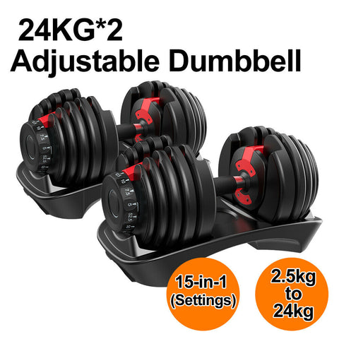 24kg Adjustable Dumbbell for Home Exercise Gym