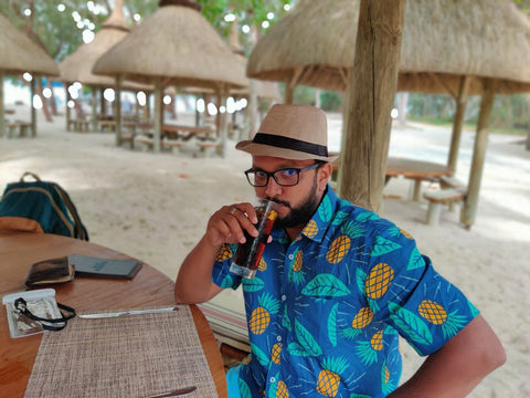 Tusok Best seller Blue Pineapple Vacation Shirt worn by customer in Mauritius