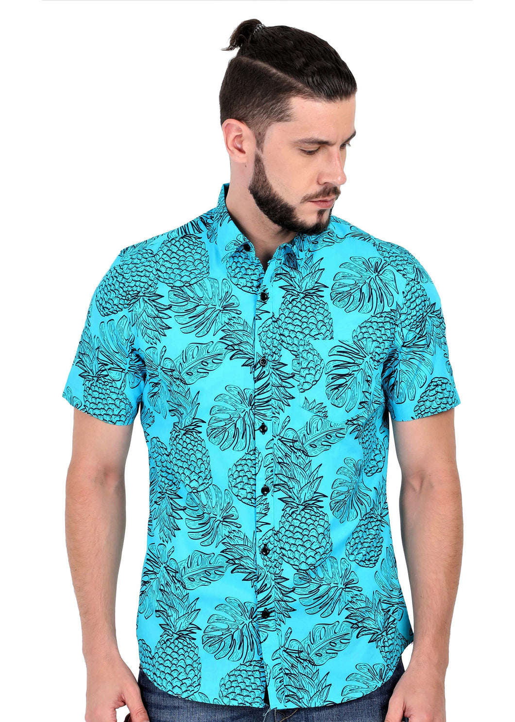 Goa Hawaiian Blue Fruit Pineapple Shirt (3)