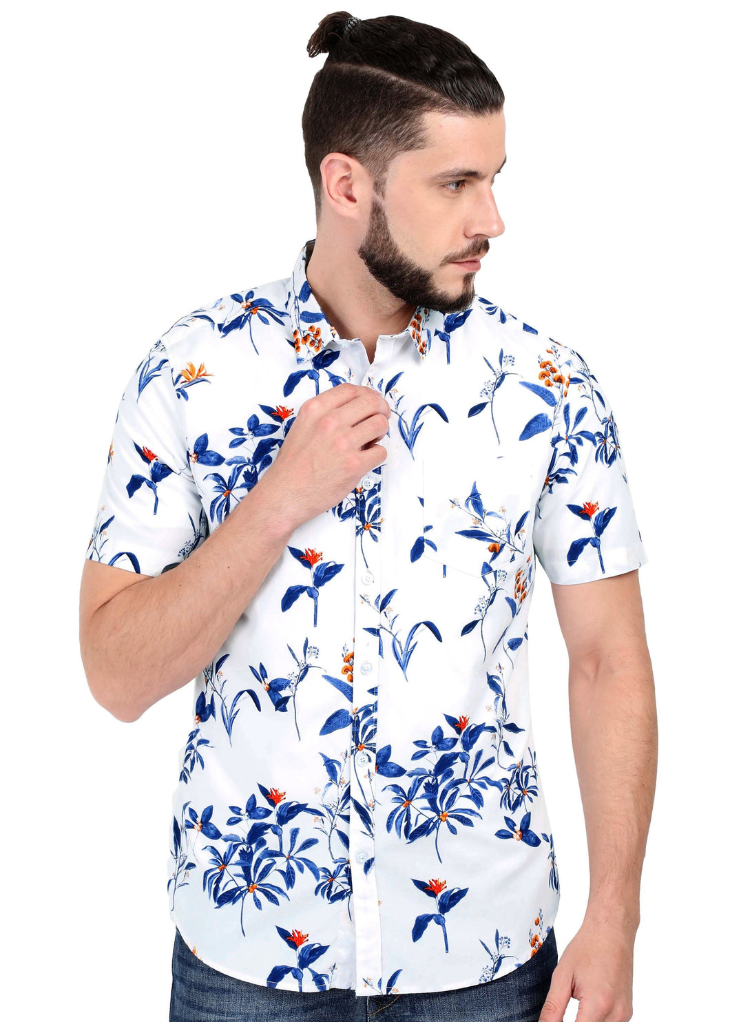 Tusok Goa Hawaiian White Floral Shirt