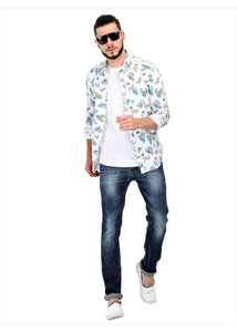 Goa Hawaiian Floral White Full Sleeve Shirt