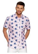 Load image into Gallery viewer, Tusok-leafy-pink-blueVacation-Printed Shirtimage-Pink Aloha (1)