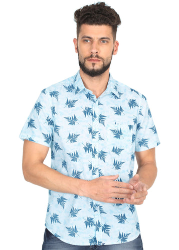 Tusok-leafy-sky-blueVacation-Printed Shirtimage-Firozi Leaf (1)