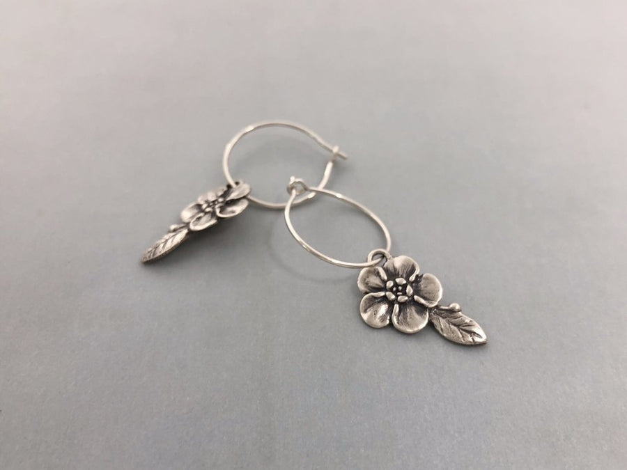 Forget Me Not Hoop Earrings