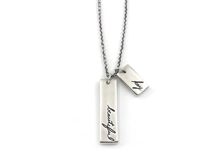Personalized Multi Charm Handwriting Necklace, Authentic Love