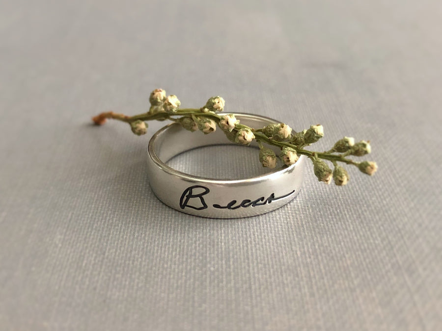 Personalized Handwriting Ring, Authentic Love