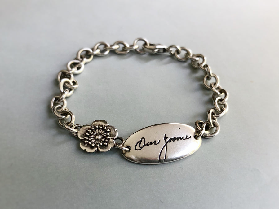 Personalized Handwriting Bracelet, Little Flower