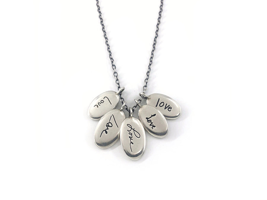 Personalized Multi Charm Handwriting Necklace, Tender Love