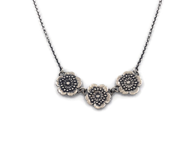 Three Little Flowers Necklace