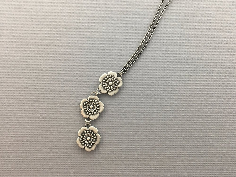 Three Little Flowers Drop Necklace