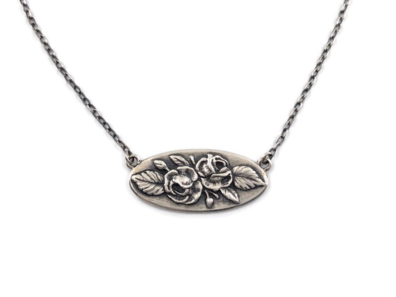 Victorian Rose Bar Necklace