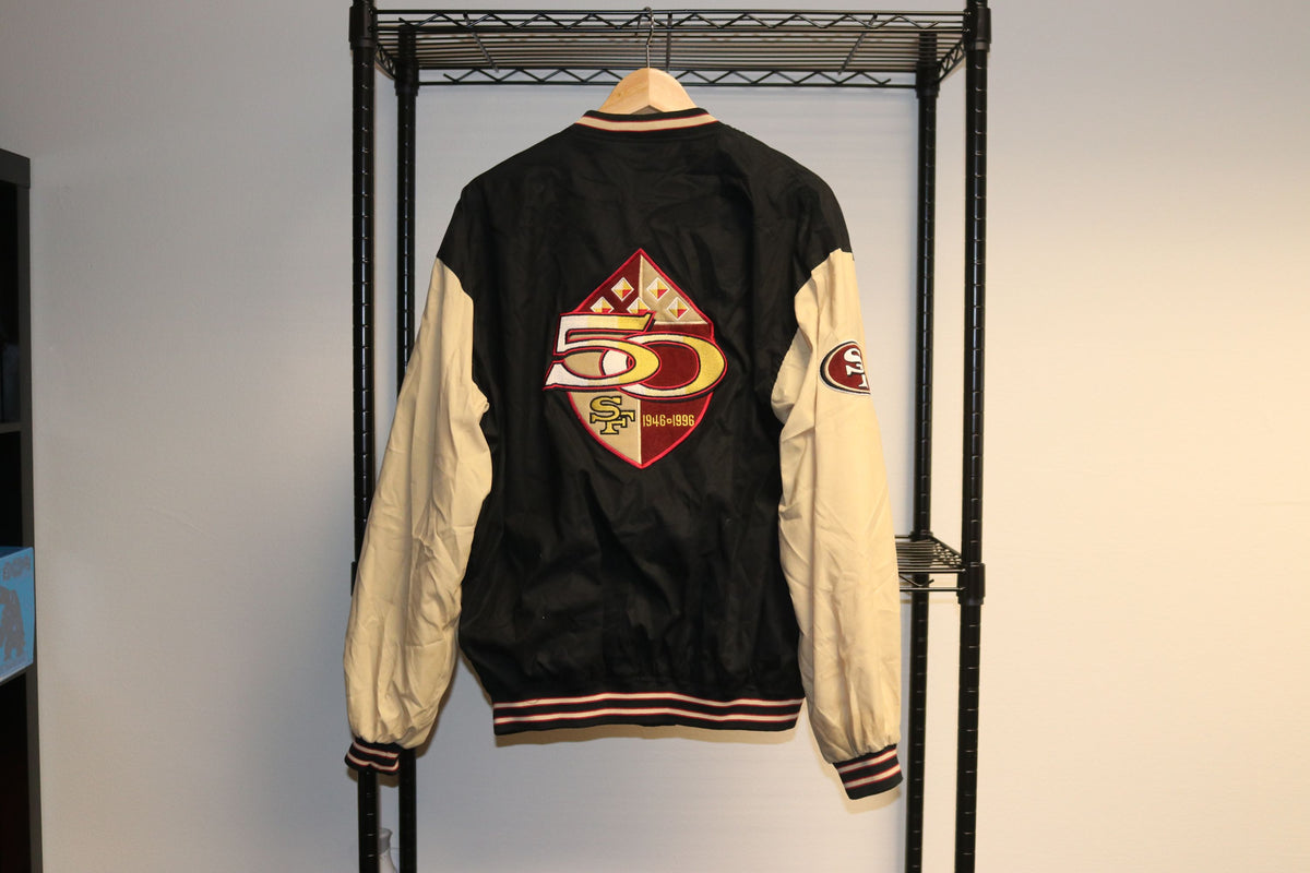 NFL Reebok San Francisco 49ers Niners Football Button Up Jacket  50 years (1946-1996) - Culture source