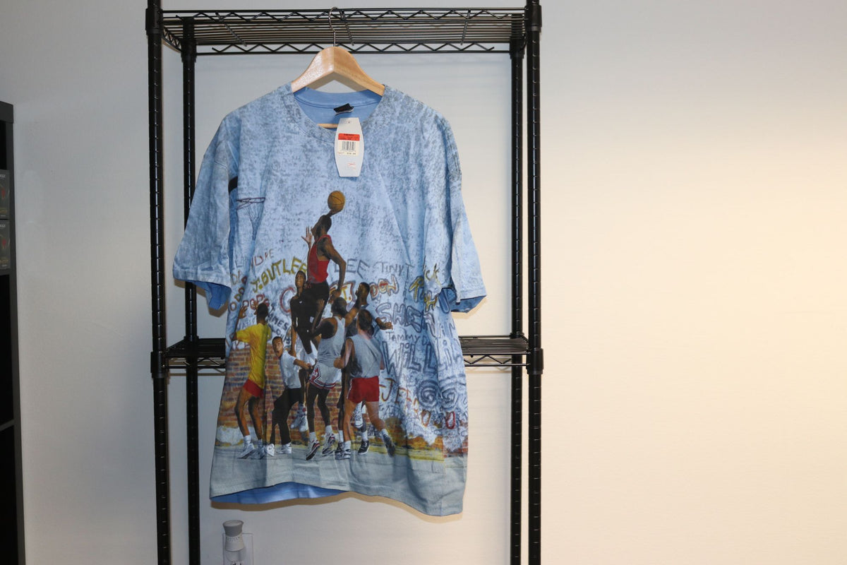 Nike Air Michael Jordan Playground Dunking Fresh Prince of Bel Air Will Smith Original Vintage All Over Print Tee Shirt Baby Blue Brand New OG Tags - Culture source