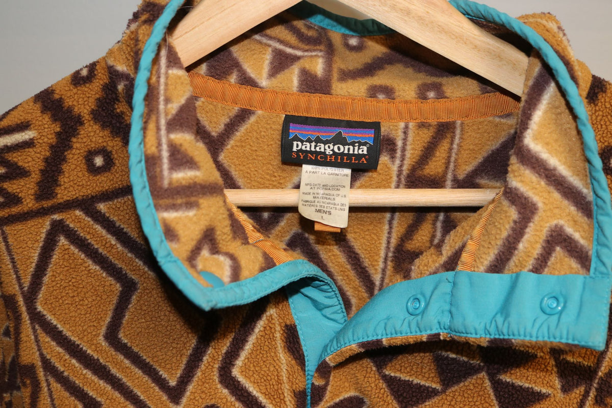 Patagonia Synchilla Fleece Tan Teal Half Button Up - Culture source