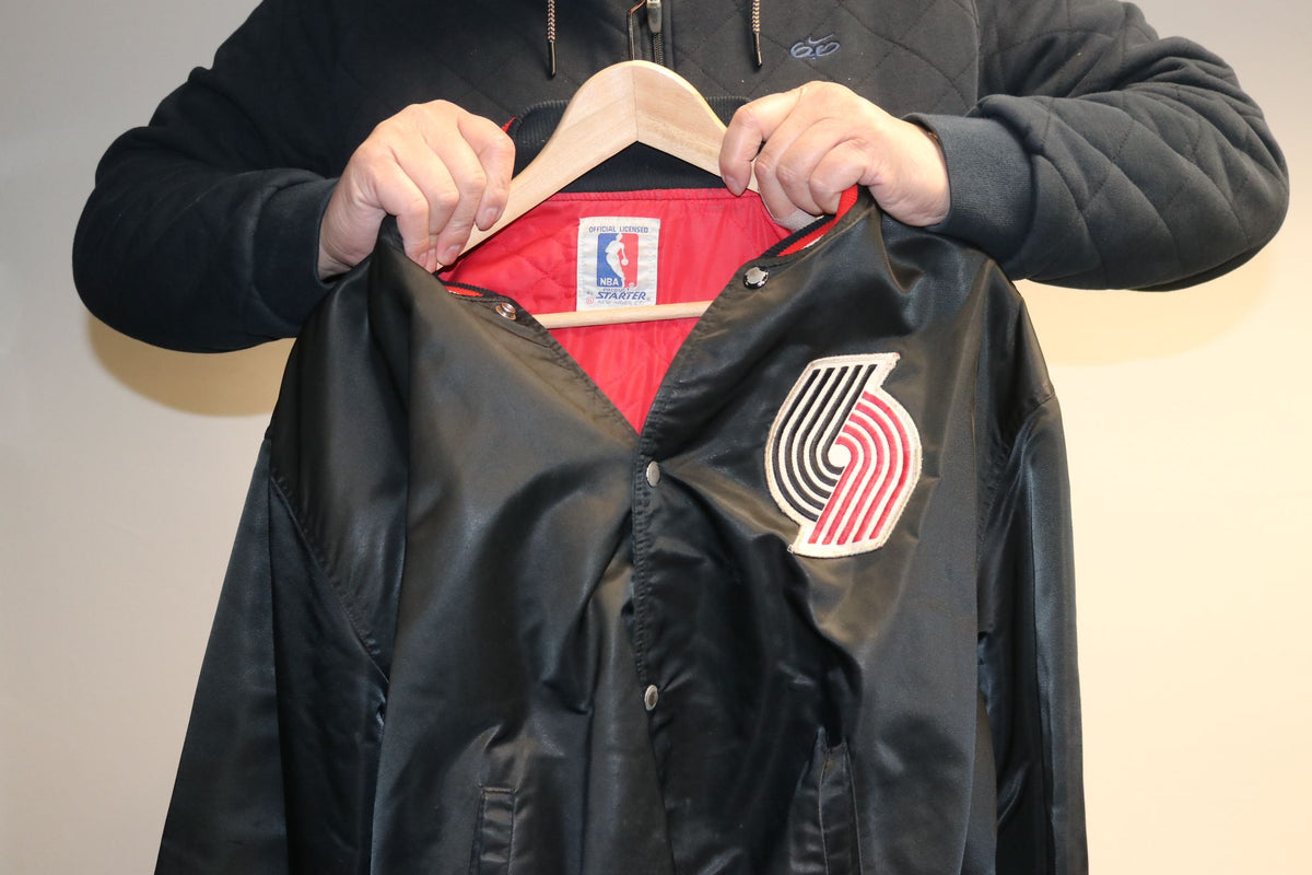 NBA Starter Portland Trailblazers Blazers Logo Double Sided Satin Vintage Jacket Black/Red/White - Culture source