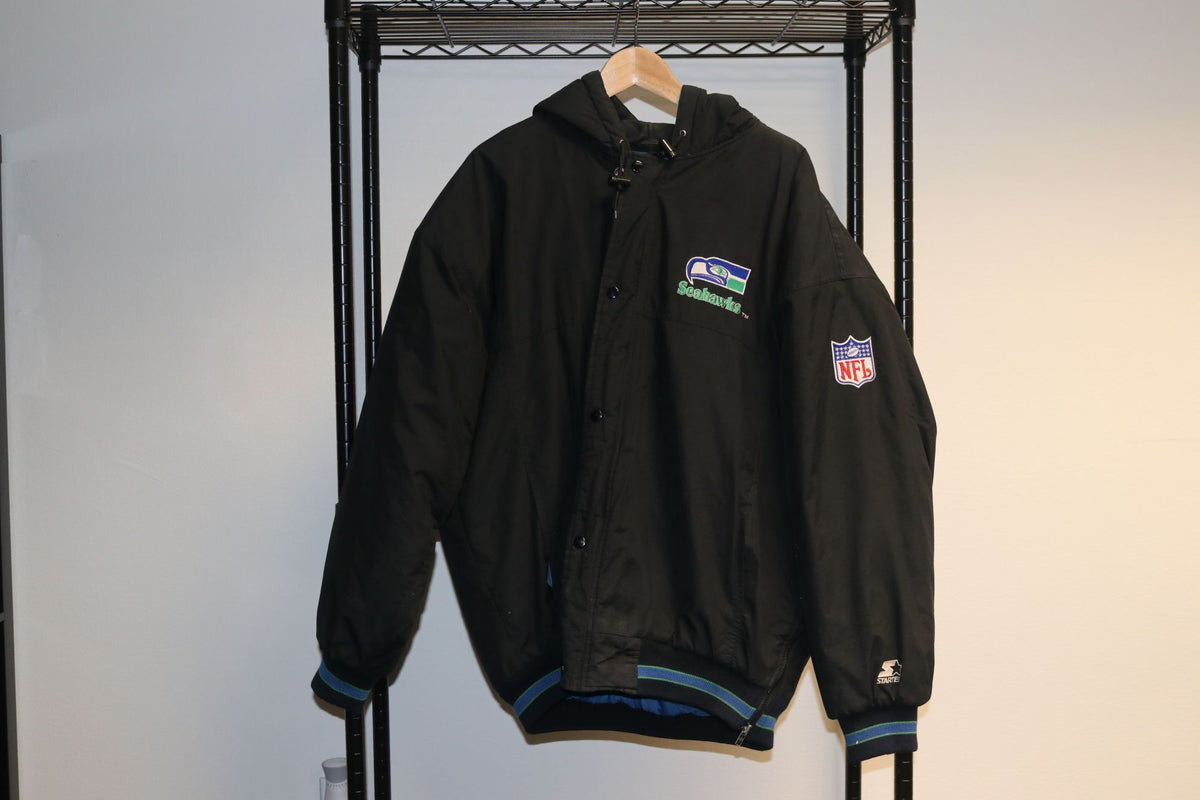 NFL Seattle Seahawks Football Full Button Up Double Sided Big Logo 90's Black Hoodie Rain Jacket - Culture source