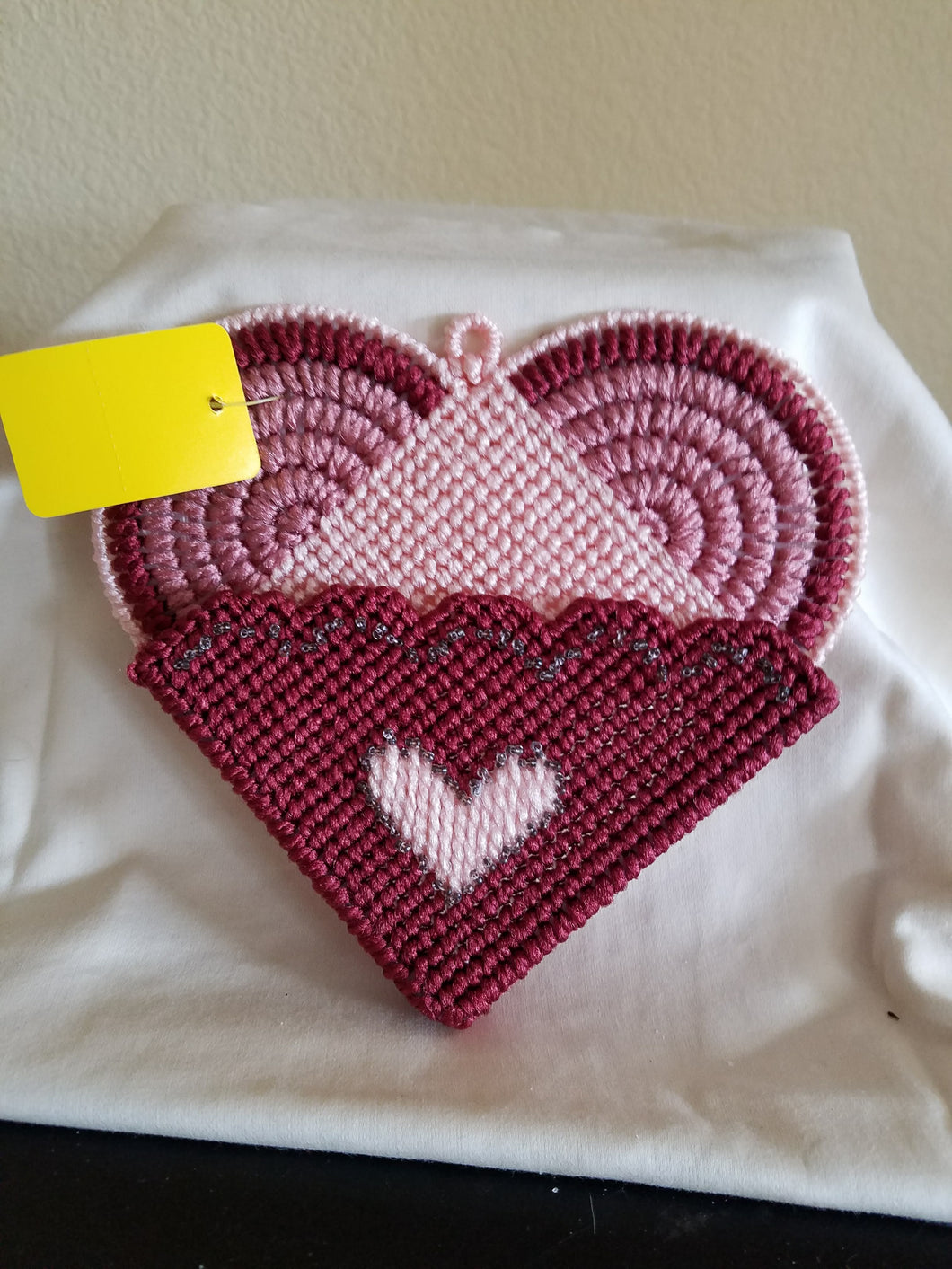 Hanging Heart Plastic Canvas Wall Pocket
