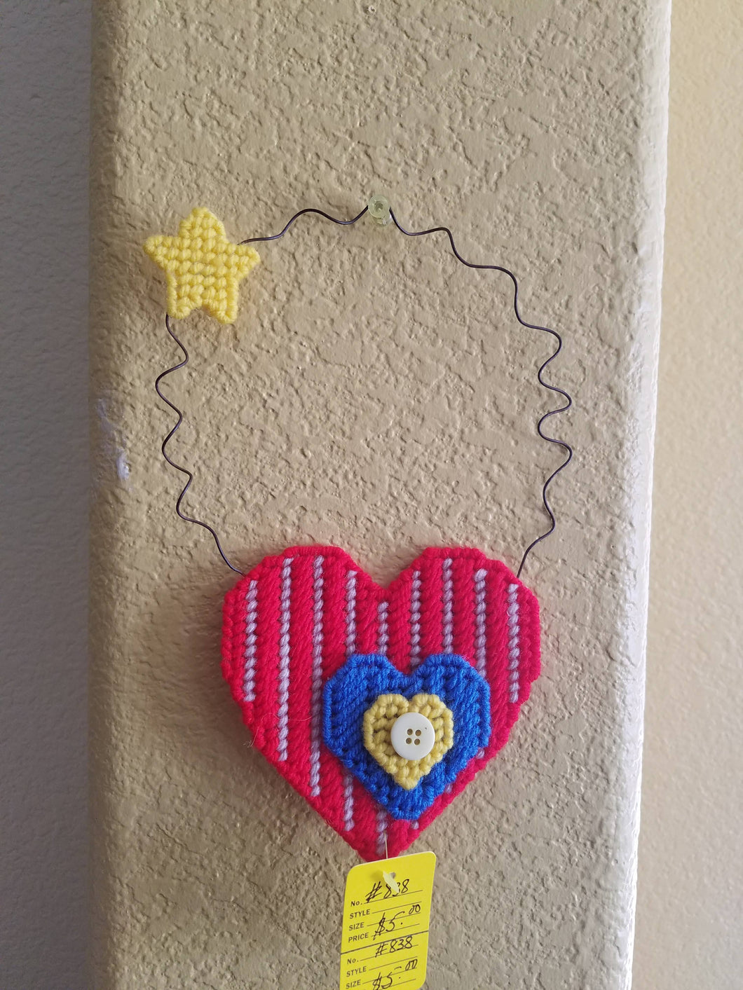 Vintage Look Plastic Canvas Heart Wall Hanging