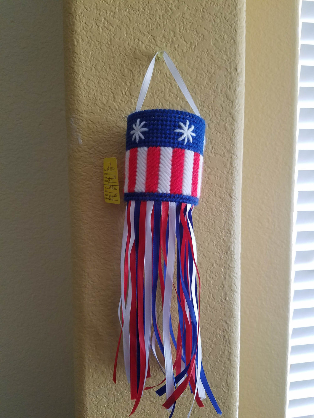 Small Plastic Canvas Patriotic Windsock