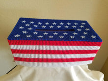 Load image into Gallery viewer, Patriotic US Flag Plastic Canvas Tissue Box Cover