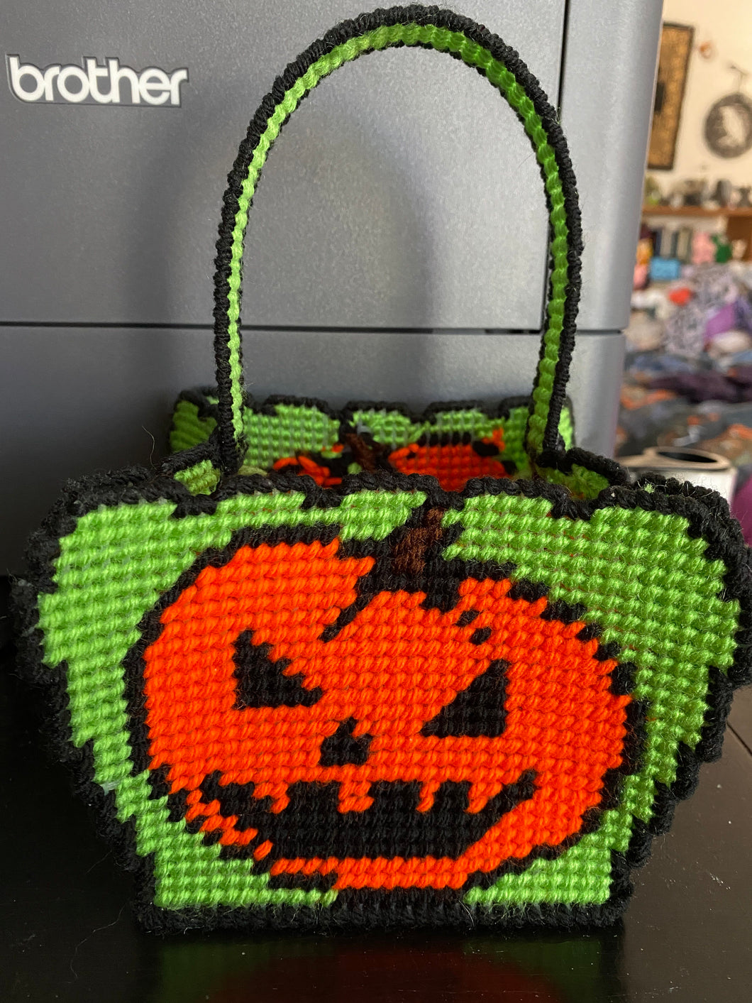 Halloween Pumpkin Basket Handmade Decor