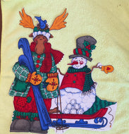 Moose and Snowman Winter Holiday Iron On Applqiue