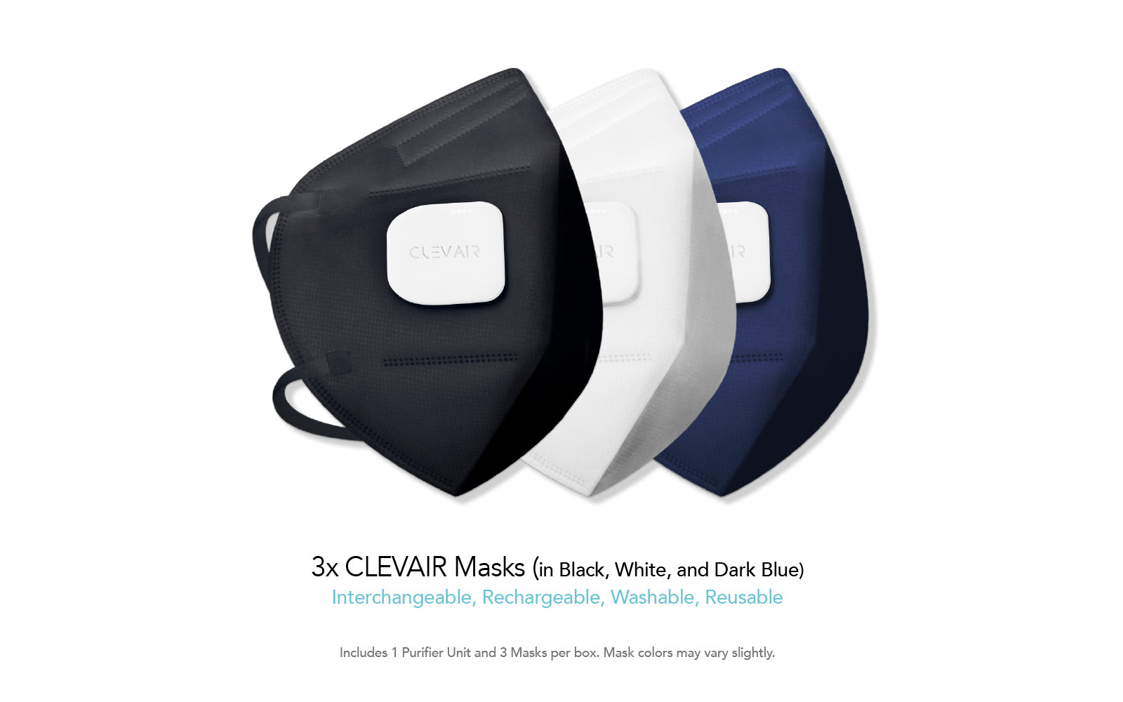 3x CLEVAIR Masks in Black, White, and Dark Blue. Interchangeable, Rechargeable, Washable, Resusable. Mask colors may vary slightly