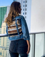 Load image into Gallery viewer, Neutral Stripes Denim Jacket