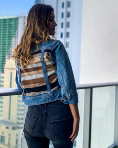 Neutral Stripes Denim Jacket
