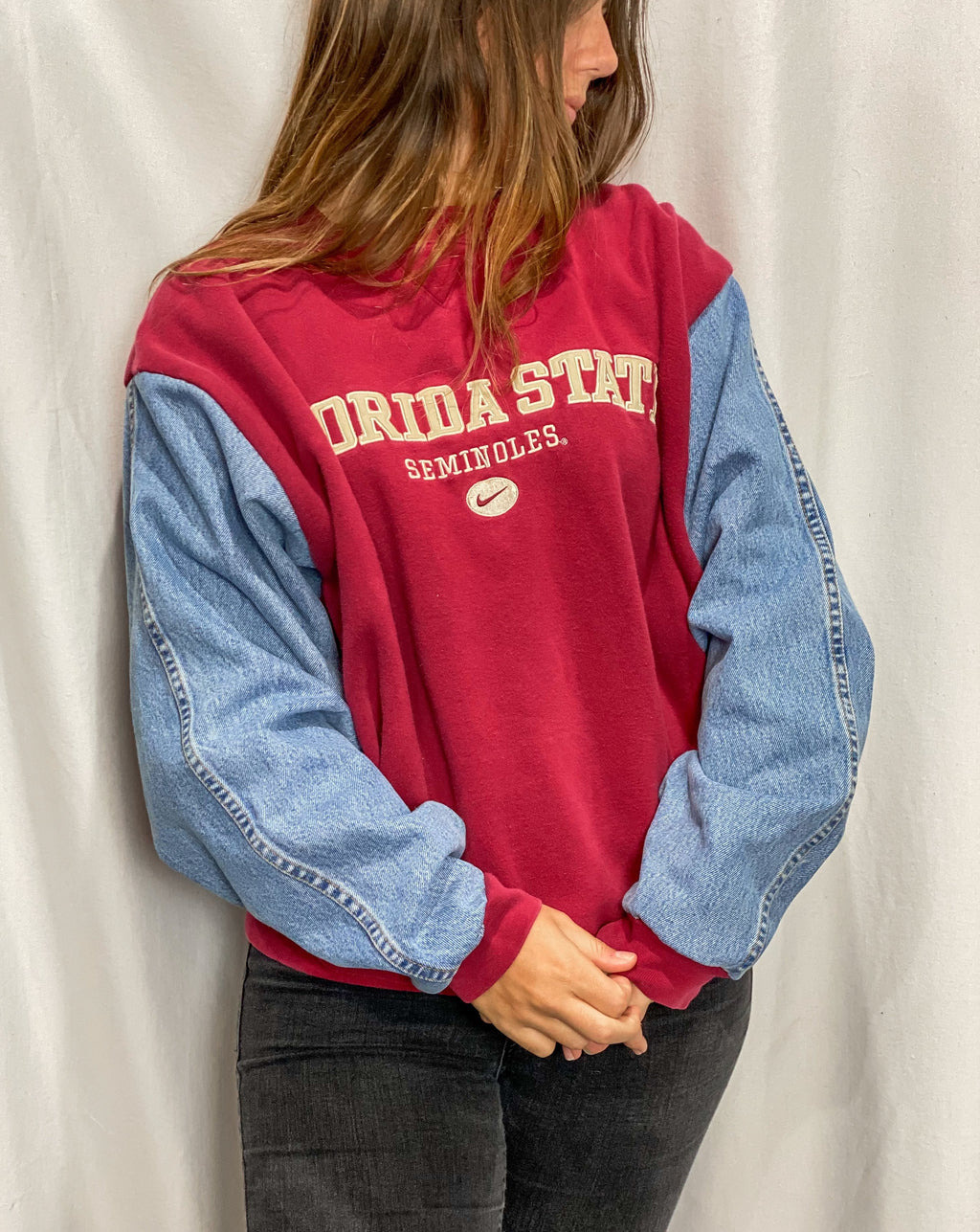 Florida State Seminoles Denim Sleeve Vintage Crewneck Sweatshirt