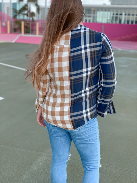 Opposites Attract Color Block Flannel Shirt