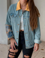 Load image into Gallery viewer, Mellow Yellow Flannel Denim Jacket