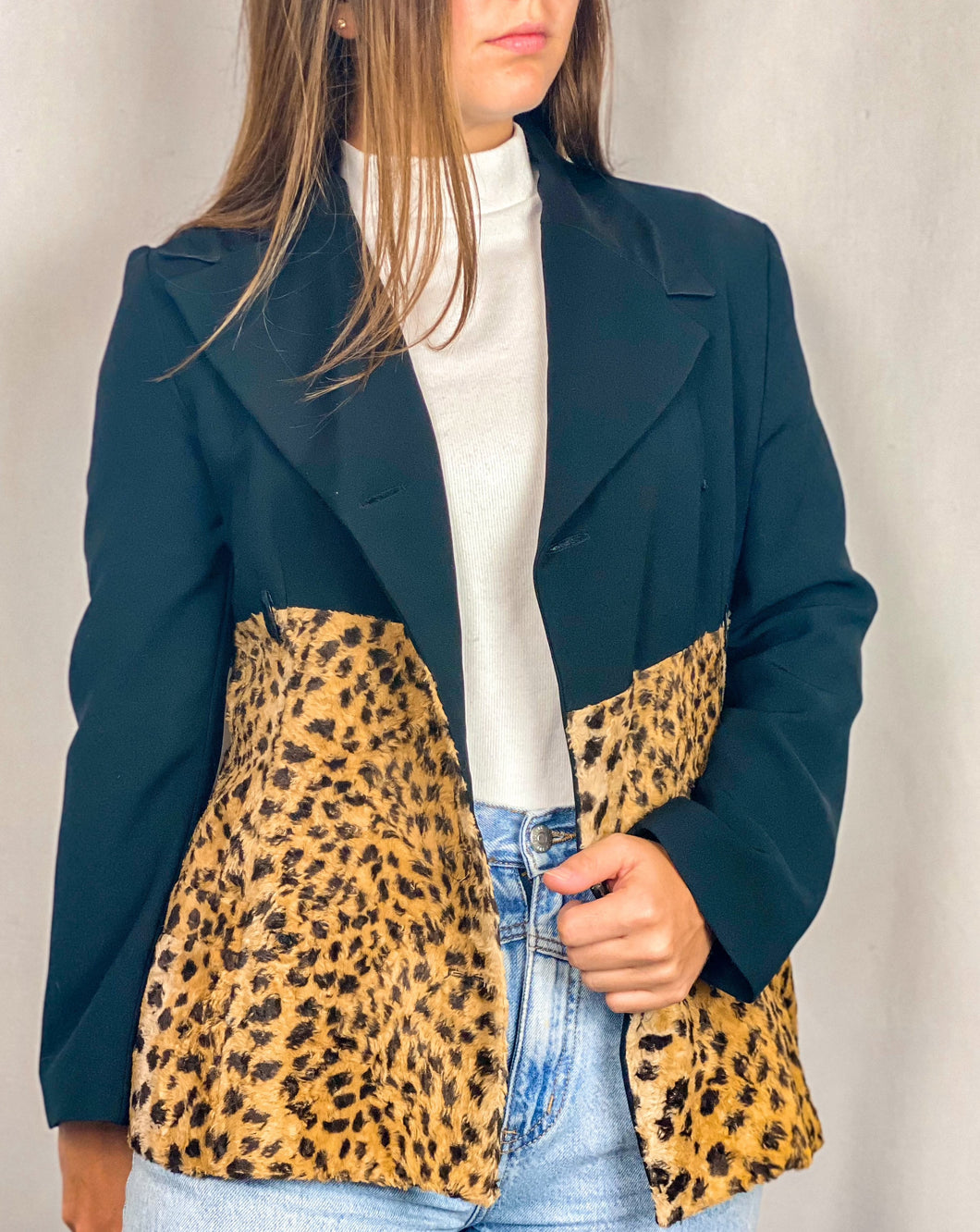 1990s Black and Leopard Duo Blazer