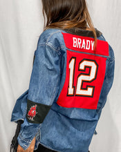 Load image into Gallery viewer, Buccaneers Tom Brady Jersey Denim Shacket