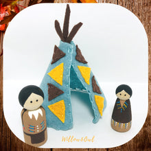 Load image into Gallery viewer, Native American Peg Doll Set and Felt Tipi