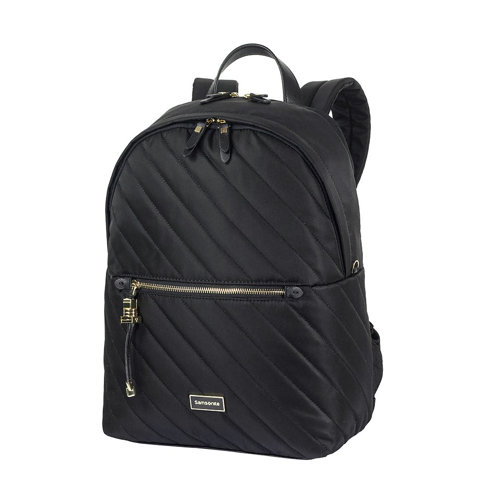 "Mochila Karissa Biz Round Backpack 14.1"" Qlt Black Quilted"
