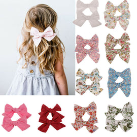 2Pcs Big Hair Bows Knot Hair Clips Girls Kids Toddler Cotton Headband Sets Ribbon Alligator Clips Baby Girl Hair Accessories
