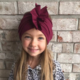 Spring Autumn Kids Hats Turban Solid Newborn Girls Princess Big Bow Children's Hats Baby Beanie Hats Accessories