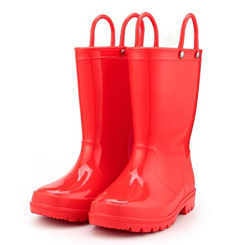 KushyShoo Kids Rain Boots 13 Colors Environmental Material Toddler Rain Boots with Easy-on Handles PVC Solid Children Rain Shoes