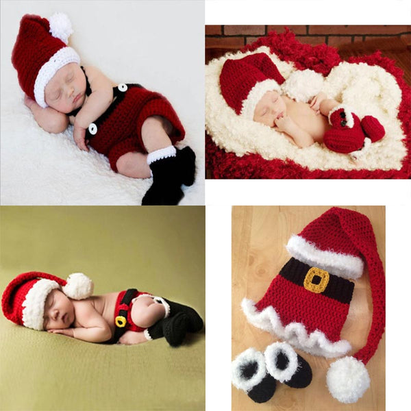 newborn photography props crothet baby Christmas clothes accessories boy clothing boys infant girl costume crocheted  outfit