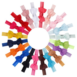 20pcs/set Cute Bow Tie Headband Hair band DIY Handmade Grosgrain Ribbon Elastic Hairband Baby Kids Hair Accessories