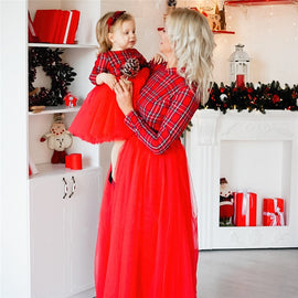Christmas Mother Daughter Dresses Mommy and Me Family Matching Clothes Winter Girls Plaid Dress Mom and Daughter Dress