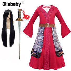 Girls Mulan Dress Halloween Princess Costumes for Girls Mulan Wig Chinese Traditional Dress Red Gown Children Hua Mulan Sword