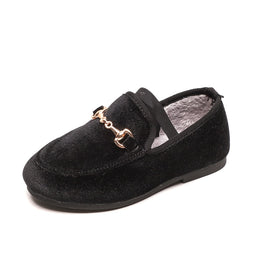 Boys Girls Velvet Loafer Best Sell Buckle Flat Winter Warm Kids Fur 21-37 Flat (Choose According To Foot Length and size chart )