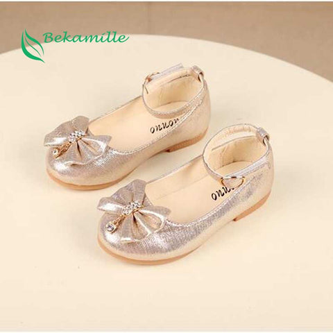 Newest Autumn Girls leather shoes Children girls baby princess bowknot sneakers pearl diamond single shoes Kids dance shoes