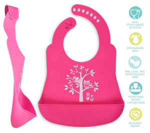 Hot Pink Owl Bib Catcher
