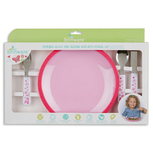 Pink Tempered Glass and Silicone Dish with Utensil Set