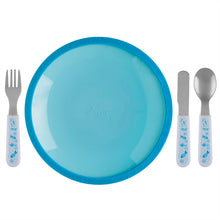 Load image into Gallery viewer, Pink Tempered Glass and Silicone Dish with Utensil Set