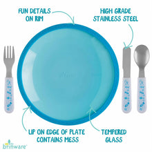 Load image into Gallery viewer, Blue Tempered Glass and Silicone Dish with Utensil Set