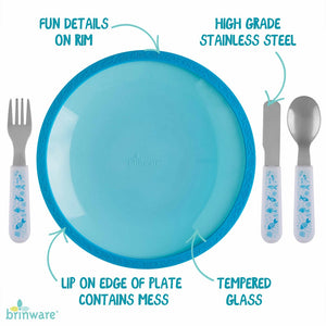 Blue Tempered Glass and Silicone Dish with Utensil Set
